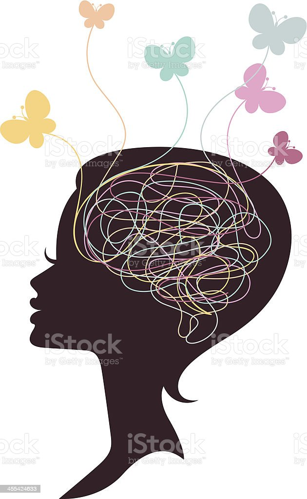 Silhouette of woman with butterflies above head royalty-free stock vector art
