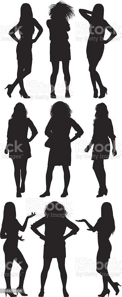 Silhouette of women in different poses royalty-free stock vector art