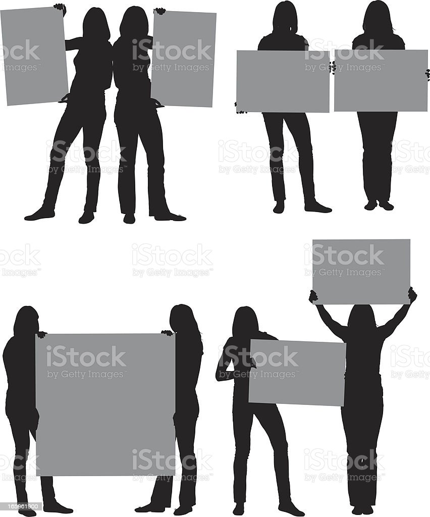 Silhouette of women with placards royalty-free stock vector art