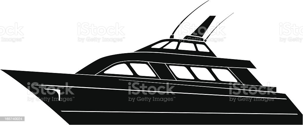 Silhouette of Yacht royalty-free stock vector art