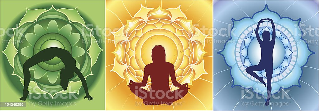 silhouette of yoga girls on bright mandala backgrounds, vector royalty-free stock vector art