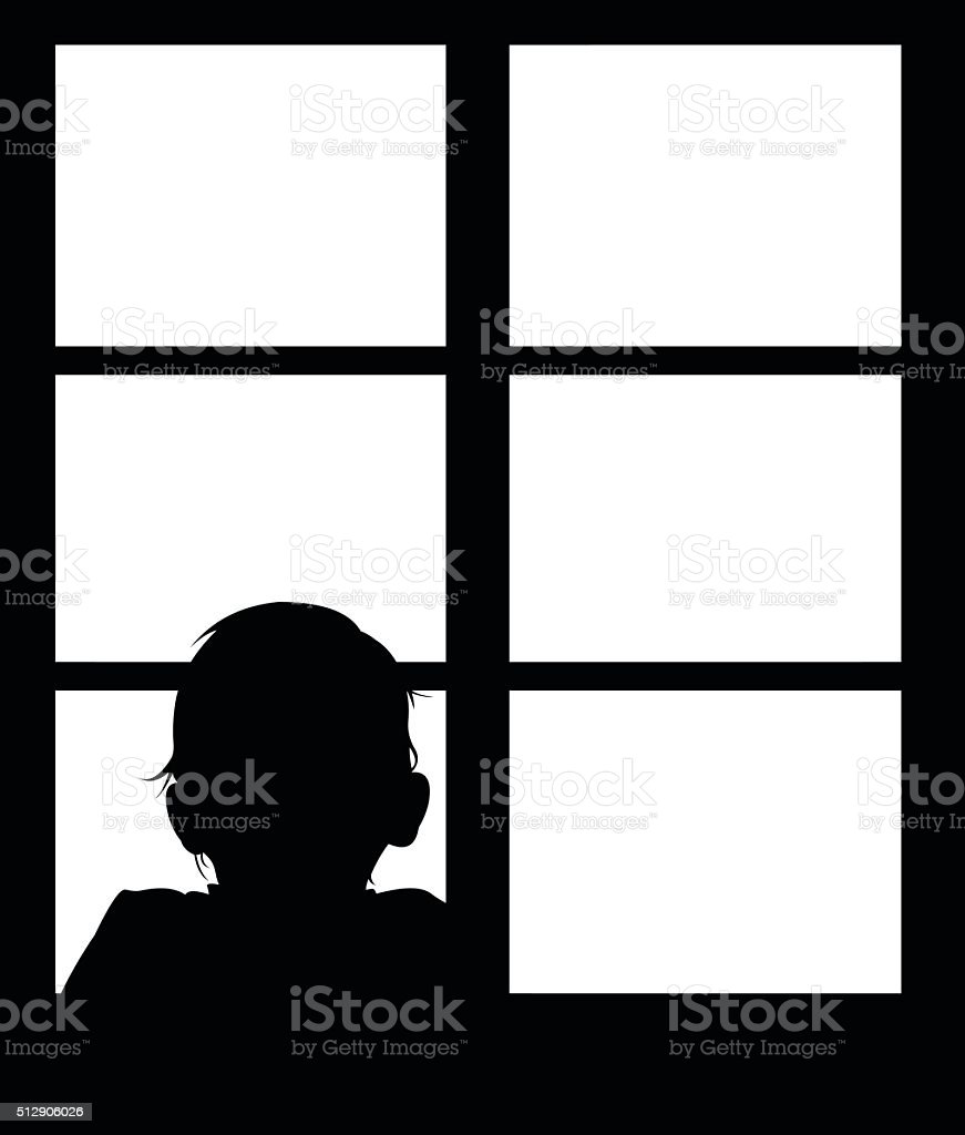 Silhouette of young baby looking out window. vector art illustration