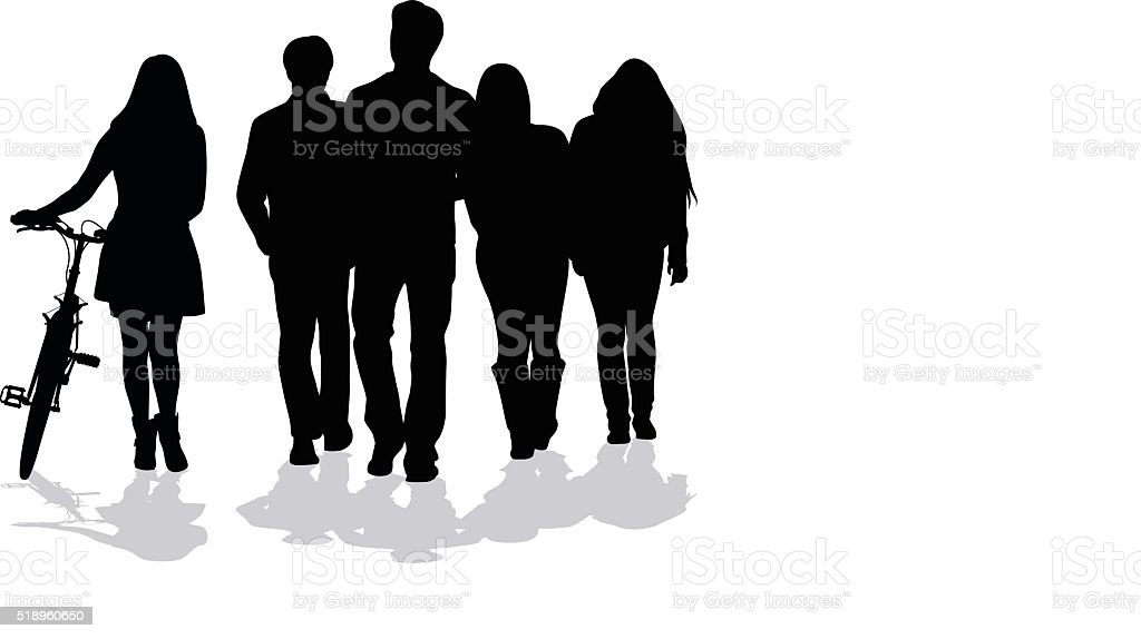 Silhouette Of Young People Walking Together vector art illustration