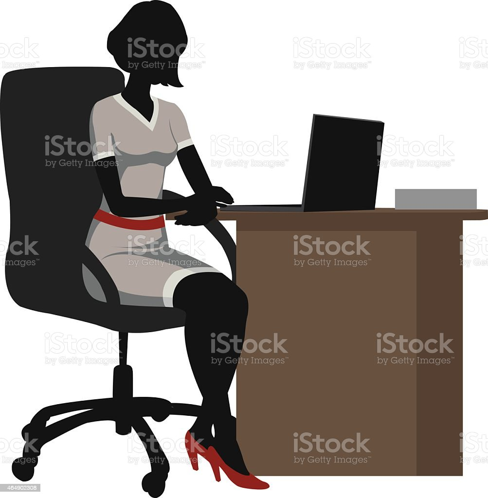 silhouette office woman  with a laptop royalty-free stock vector art