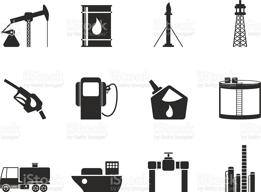 Silhouette Oil and petrol industry icons royalty-free stock vector art