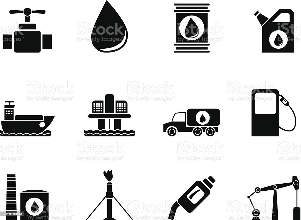 Silhouette oil and petrol industry objects icons royalty-free stock vector art