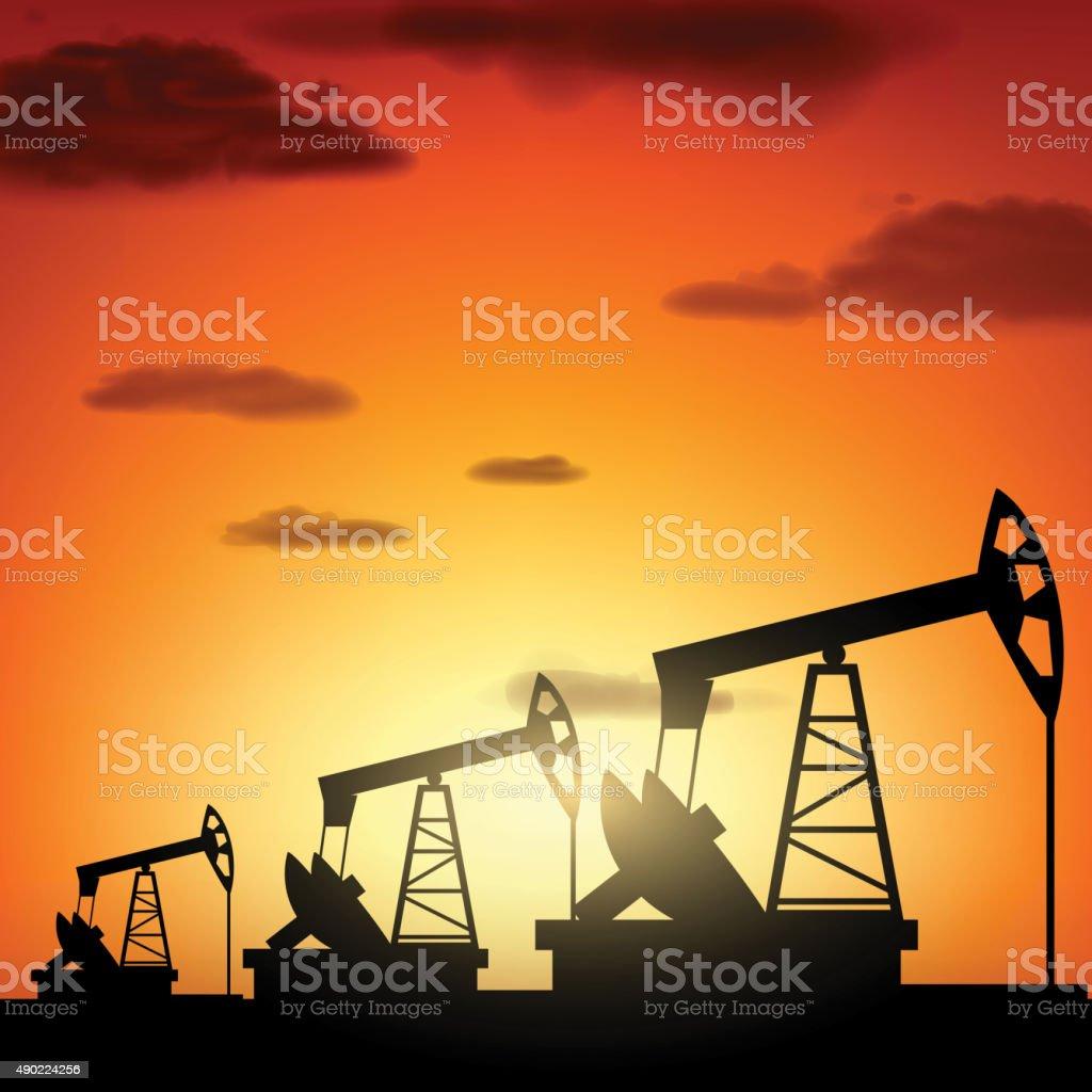 Silhouette oil pump vector art illustration