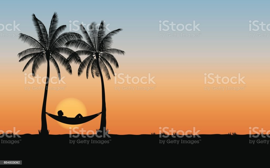 Silhouette palm tree and woman sleeping in hammock vector art illustration