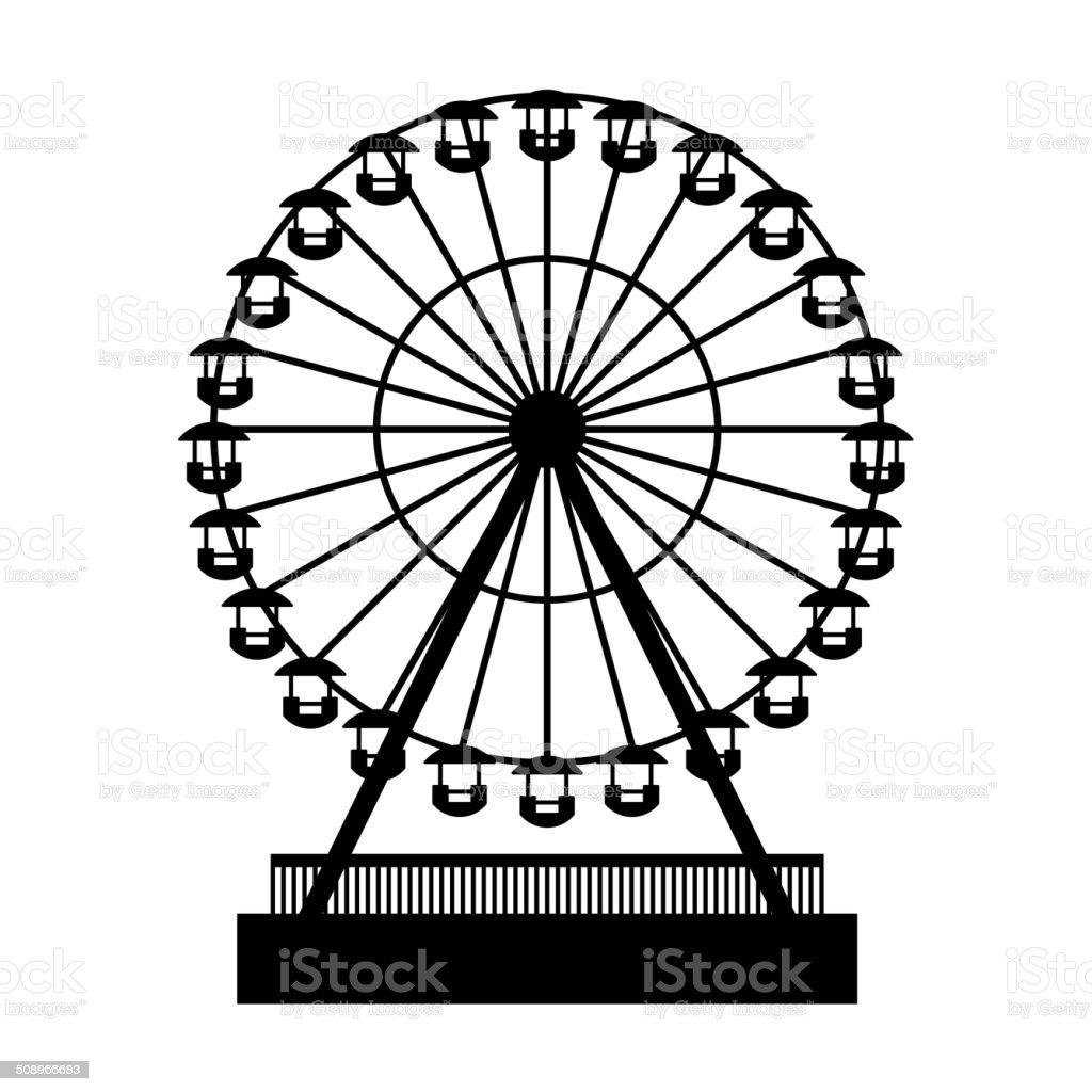 Silhouette Park Atraktsion Ferris Wheel. Vector royalty-free stock vector art