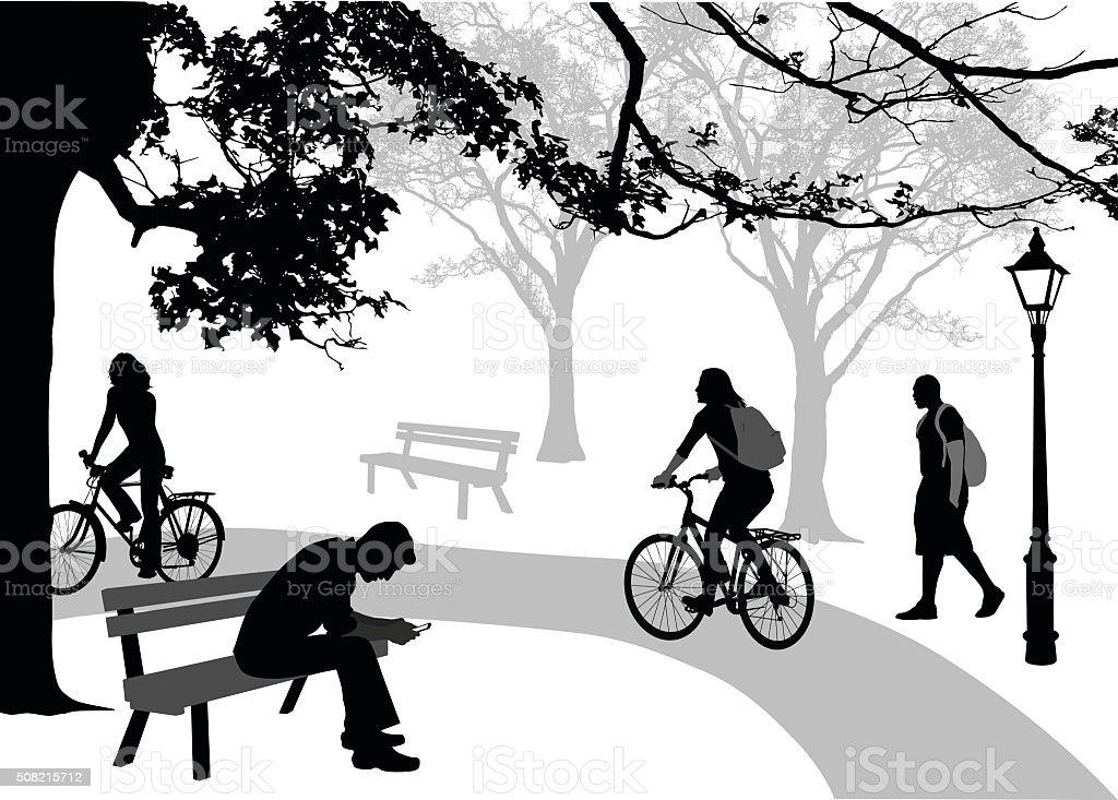 Silhouette Parkians vector art illustration