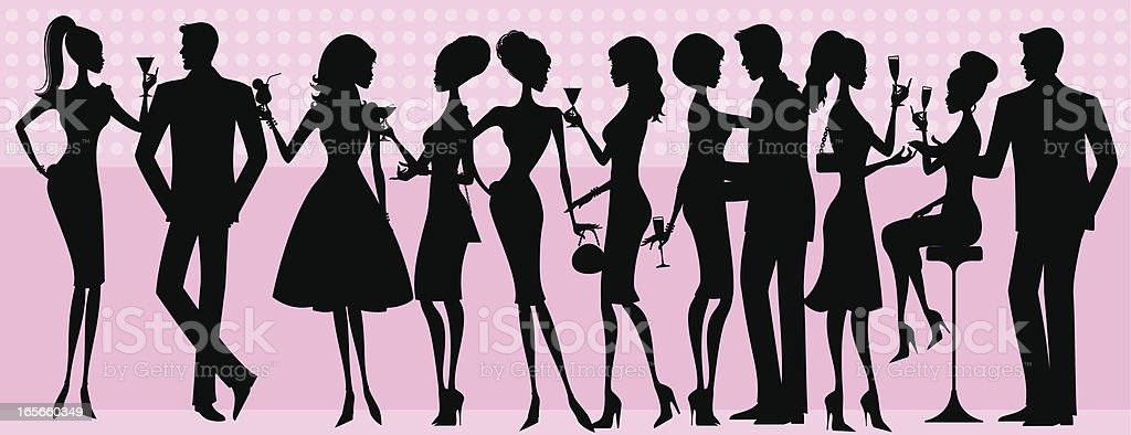 Silhouette Party People vector art illustration