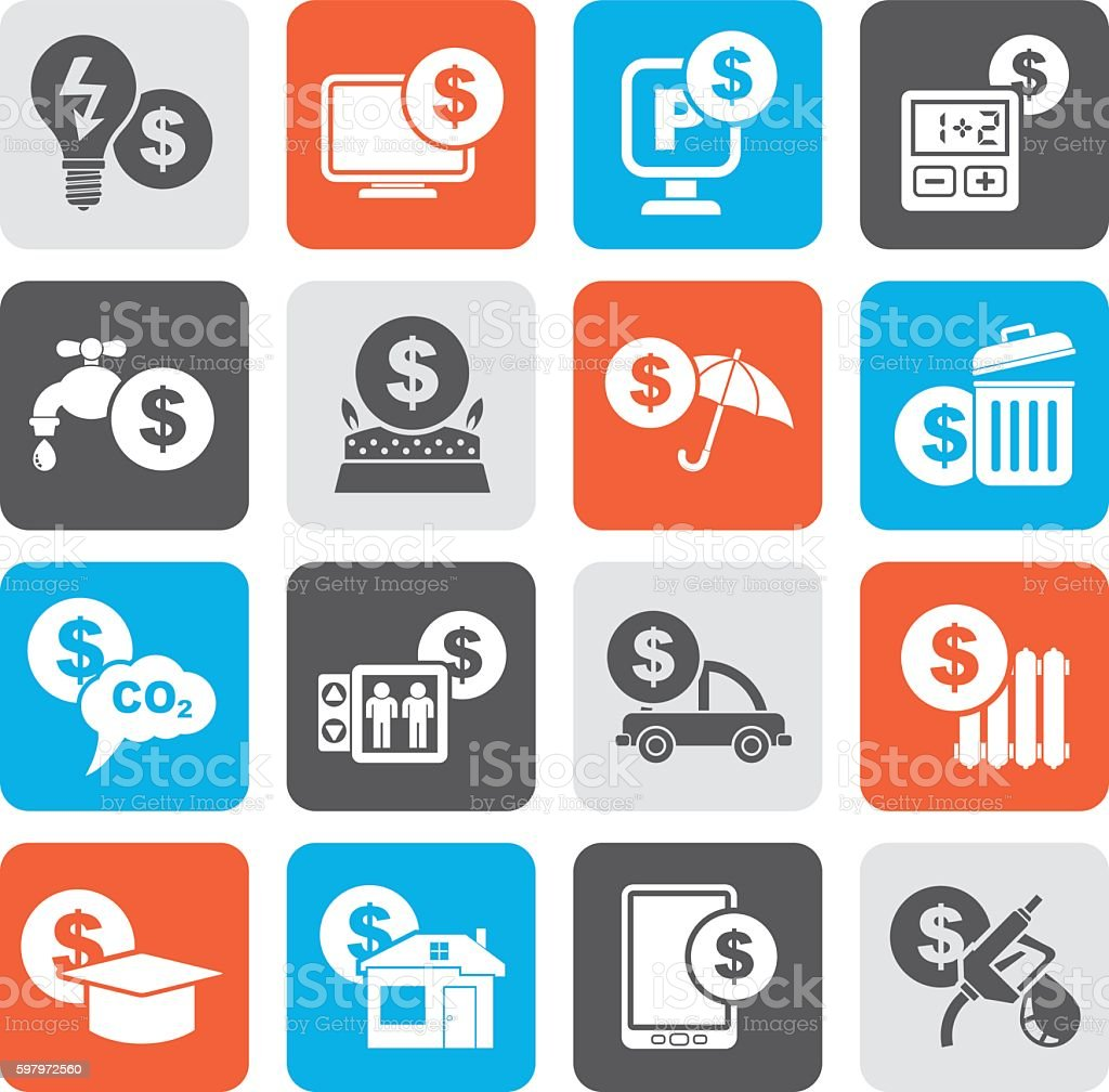 Silhouette payment of  bills icons vector art illustration