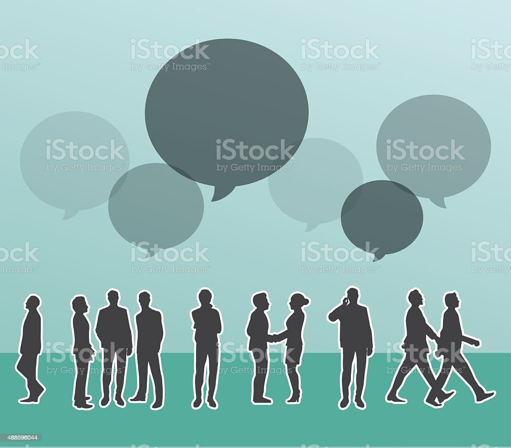 Silhouette people of Business concept. vector art illustration