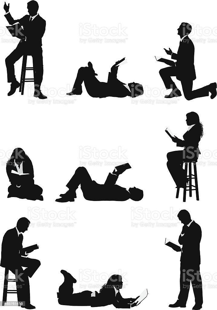 person reading book clip art