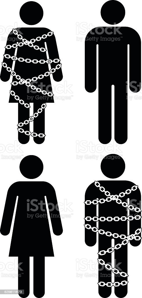 Silhouette People with Chains on White Background vector art illustration