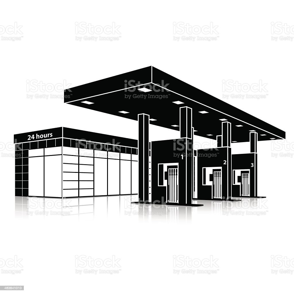 silhouette petrol station with a small shop and reflection vector art illustration