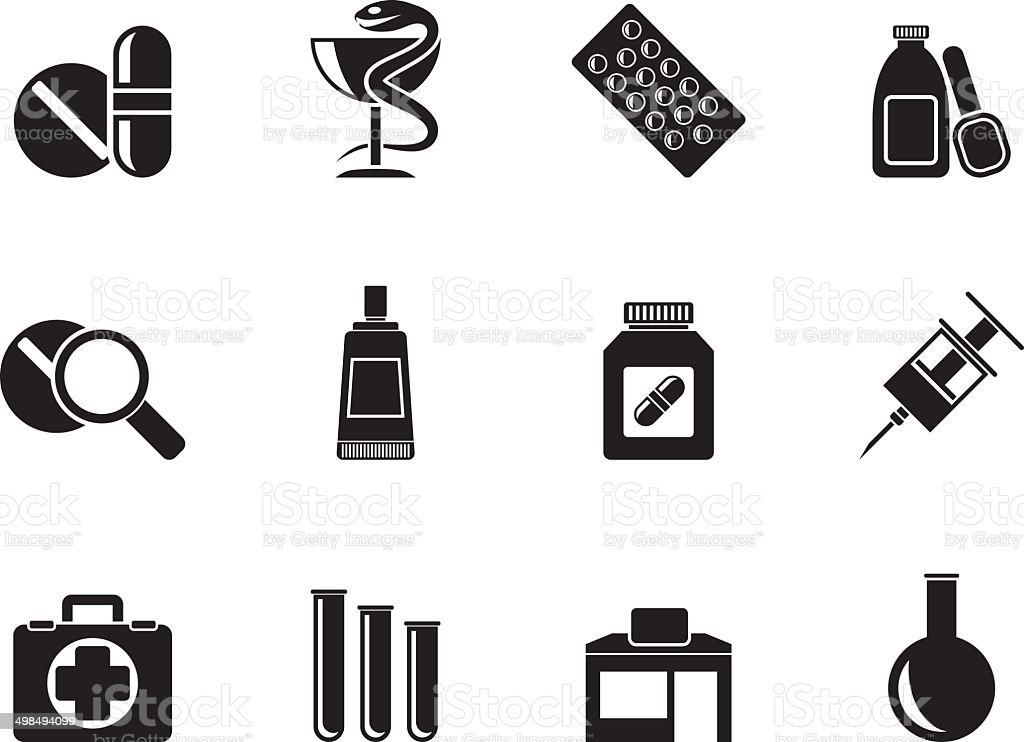 Silhouette Pharmacy and Medical icons vector art illustration