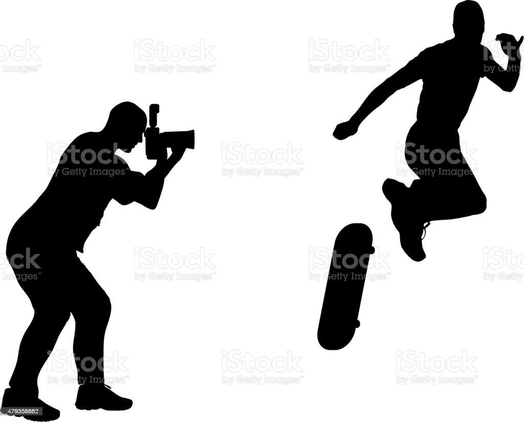 silhouette photographer vector art illustration