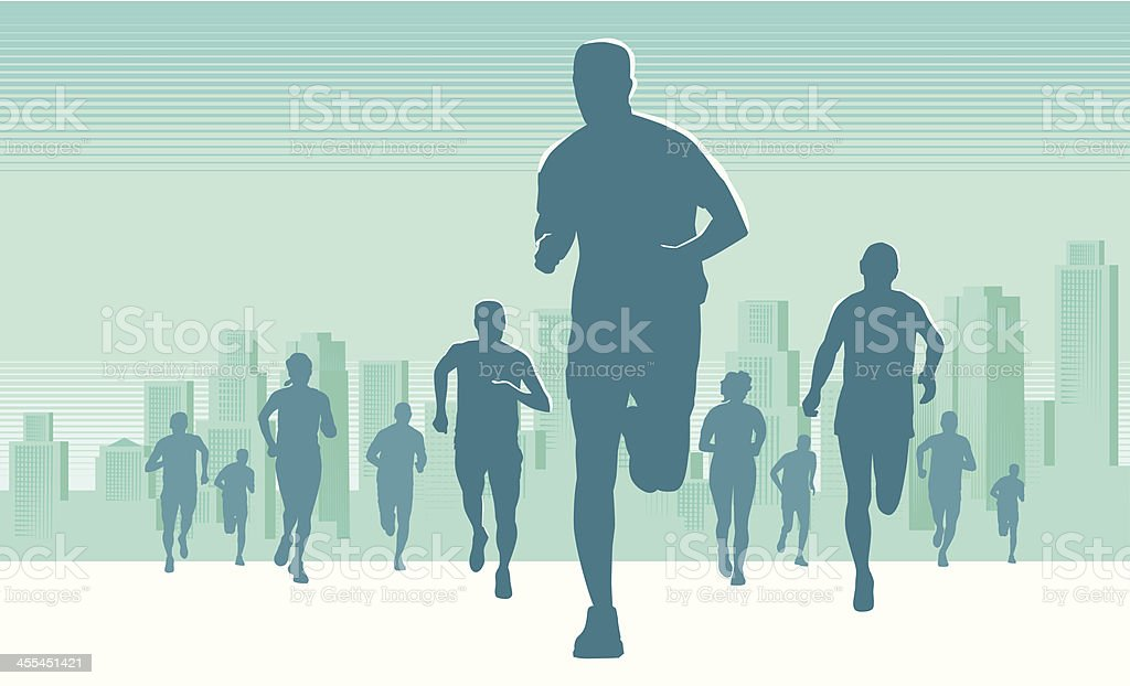 Silhouette picture of runners during a marathon royalty-free stock vector art