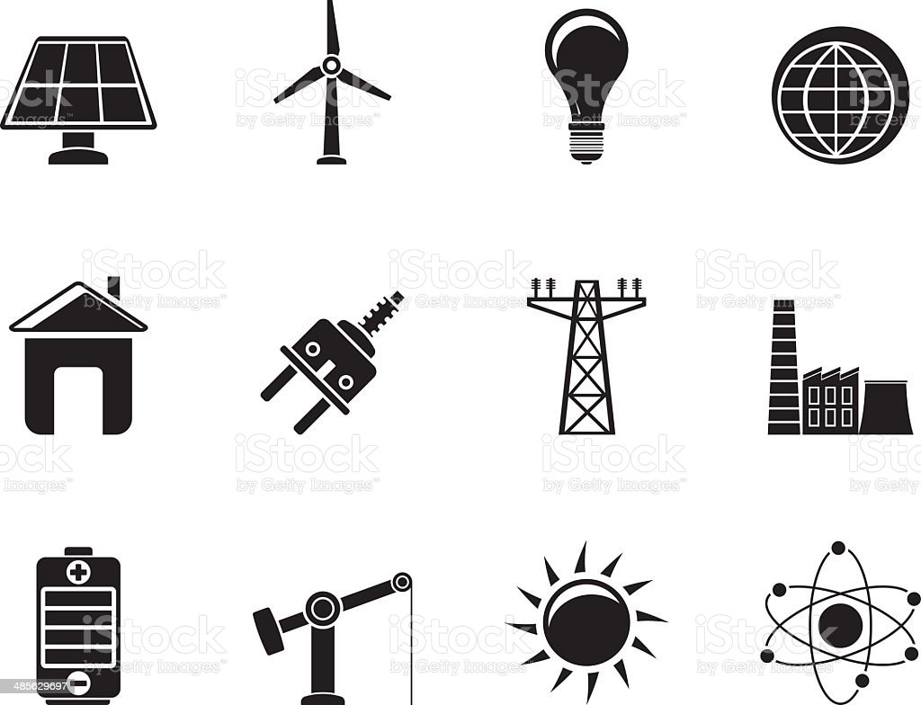 Silhouette power, energy and electricity icons vector art illustration