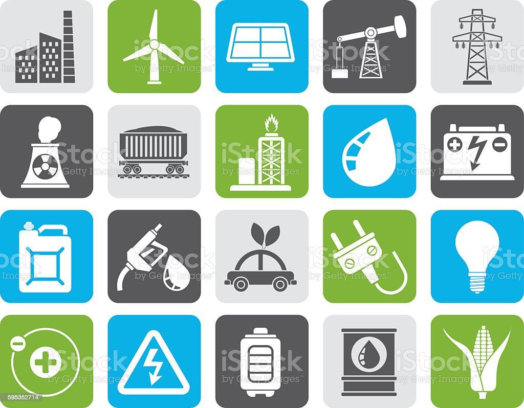 Silhouette Power, energy and electricity Source icons vector art illustration