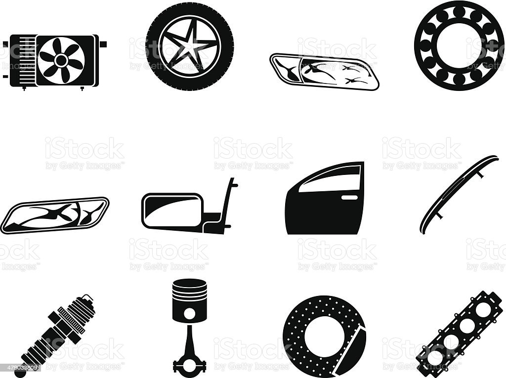 Silhouette Realistic Car Parts and Services icons royalty-free stock vector art