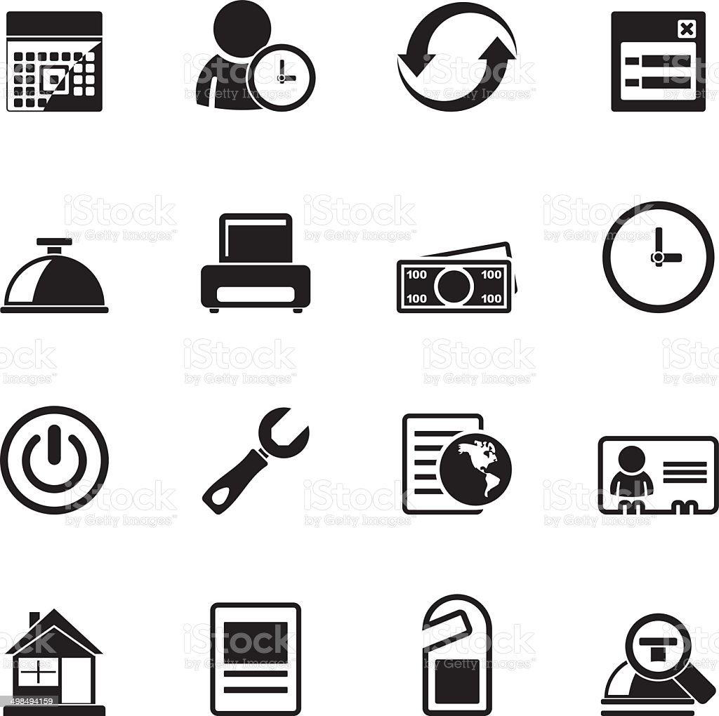 Silhouette reservation and hotel icons vector art illustration