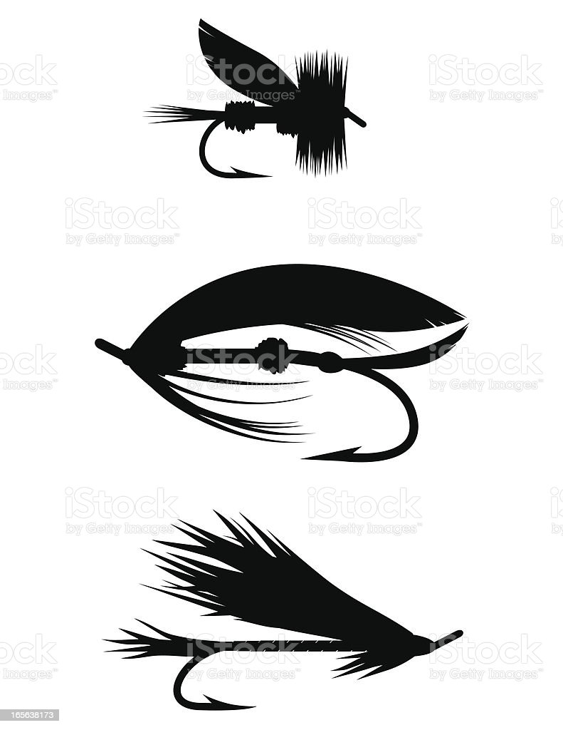 Silhouette Set - Fishing Flies royalty-free stock vector art