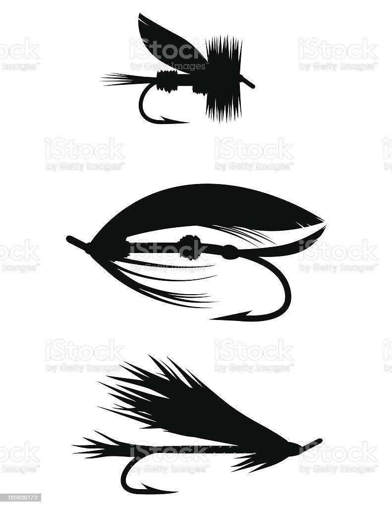 Silhouette Set - Fishing Flies vector art illustration