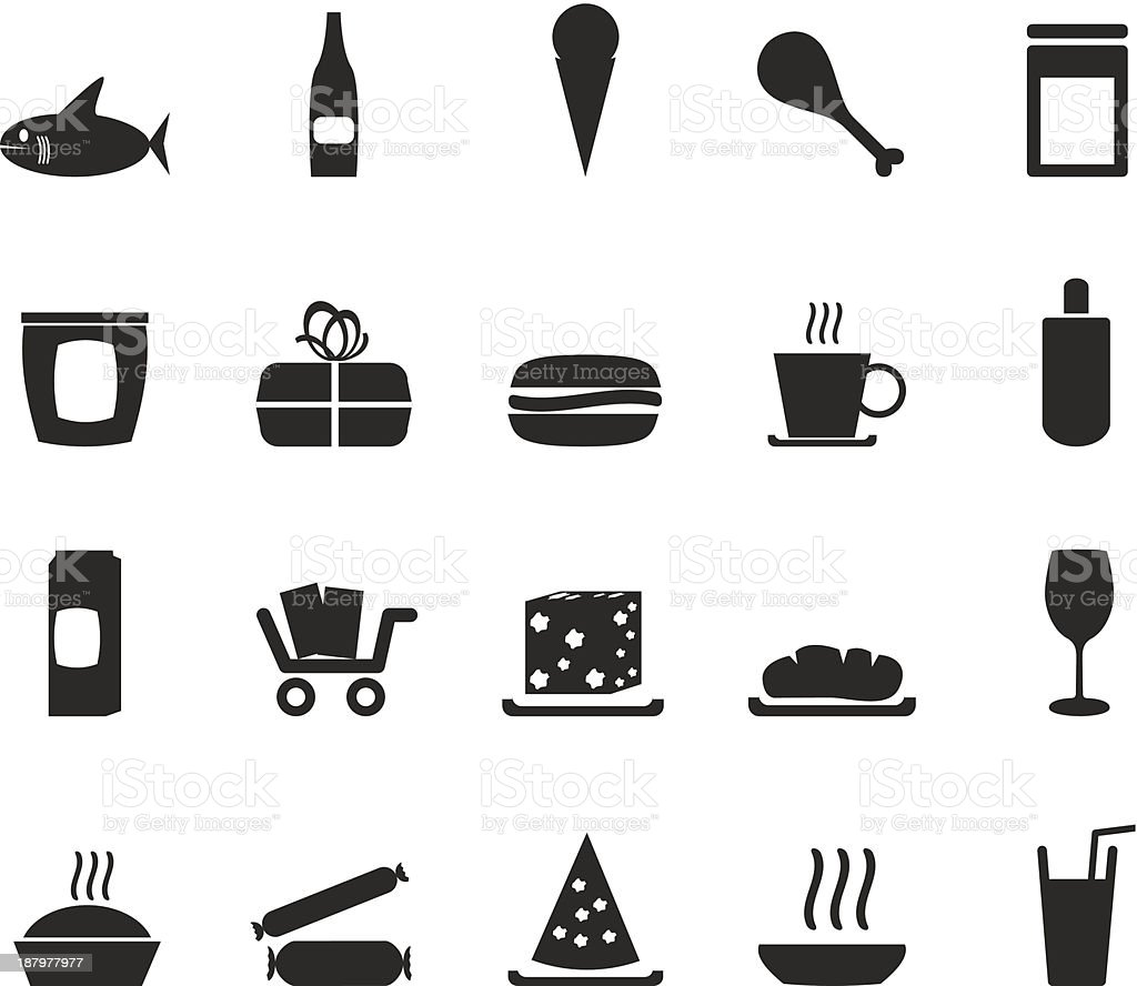 Silhouette Shop and Foods Icons vector art illustration