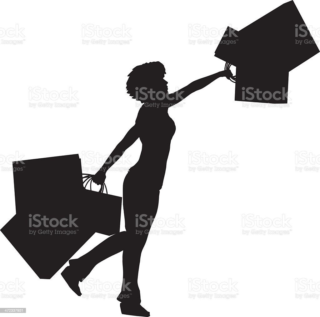 Silhouette shopping woman[Enjoy!] royalty-free stock vector art