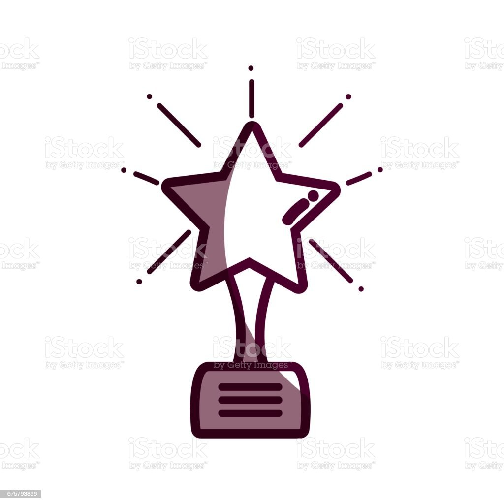 silhouette short film with star prize tool vector art illustration