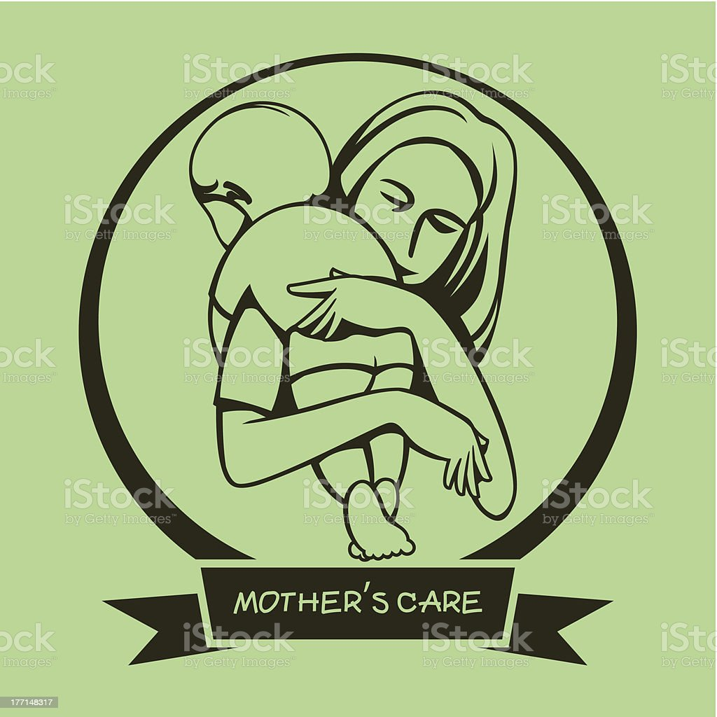 Silhouette sign a mother's care royalty-free stock vector art