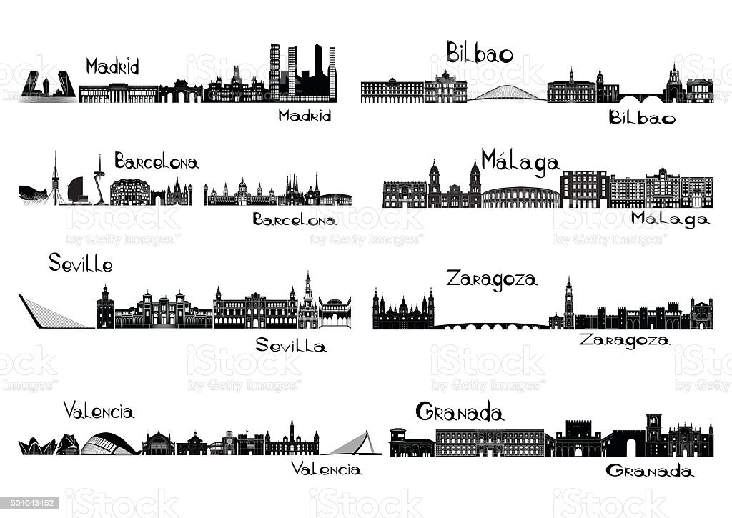 Silhouette signts of 8 cities of Spain vector art illustration