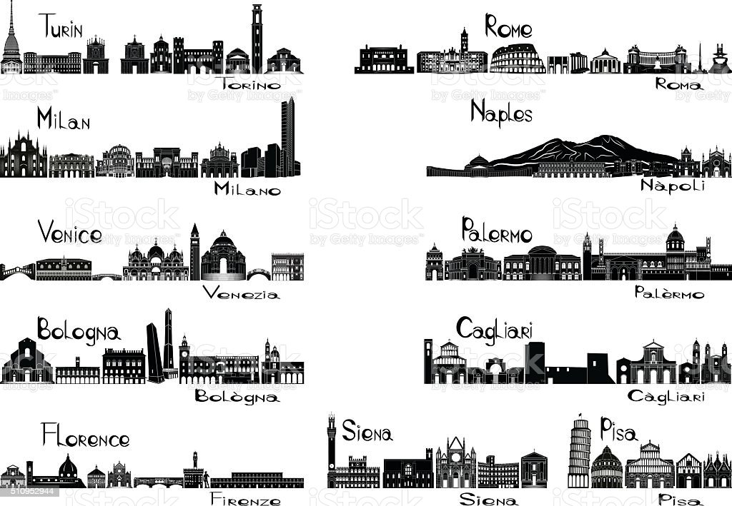 Silhouette signts of eleven cities of Italy vector art illustration