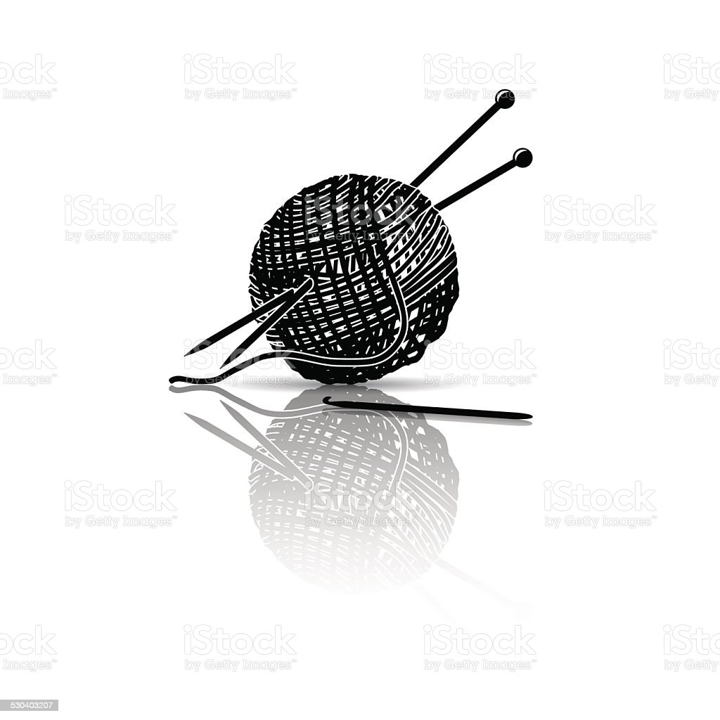 silhouette skein of yarn with knitting needles and crochet vector art illustration
