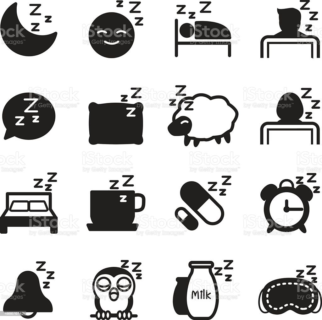Silhouette Sleep  icons Set vector art illustration