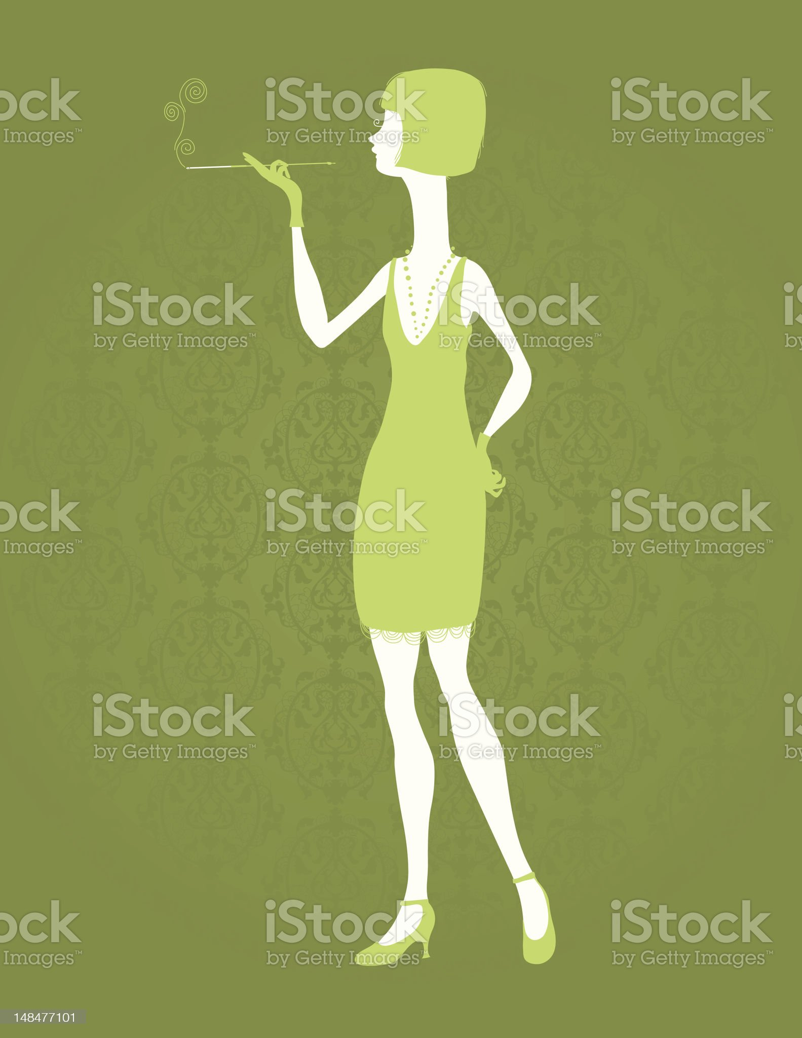 Silhouette Smoking 20's Lady royalty-free stock vector art
