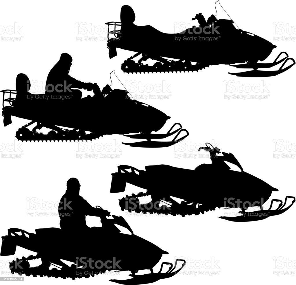Silhouette snowmobile  on white background. Vector illustration vector art illustration