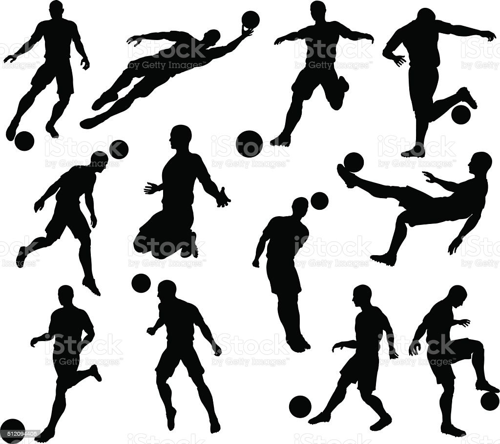 Silhouette Soccer Players vector art illustration