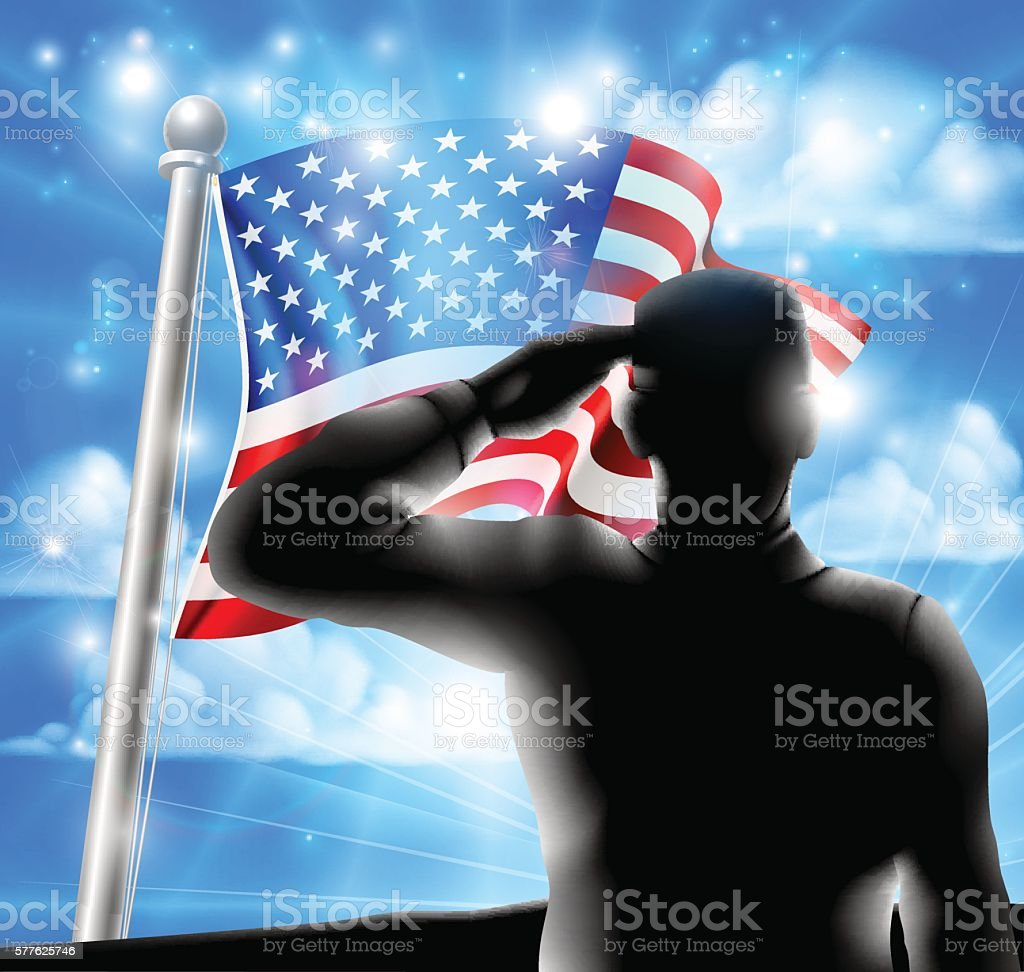 Silhouette Soldier Saluting American Flag vector art illustration