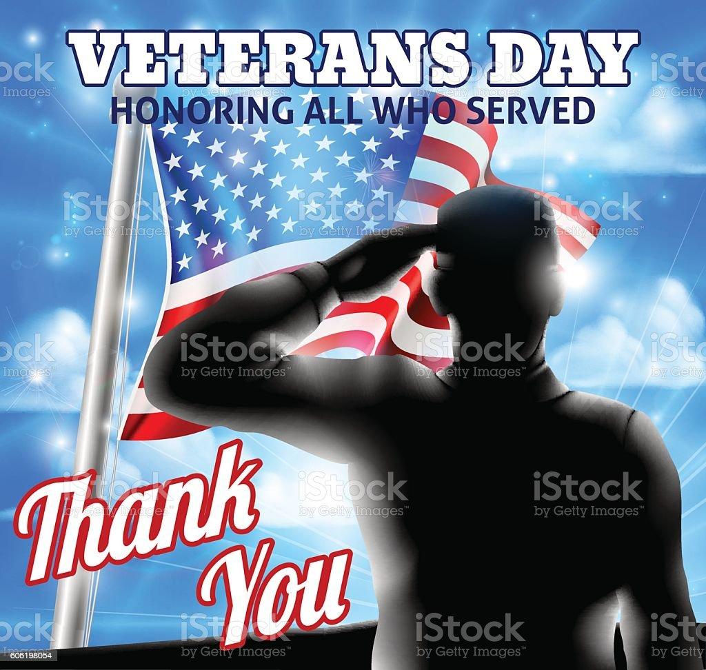 Silhouette Soldier Saluting American Flag Veterans Day Design vector art illustration