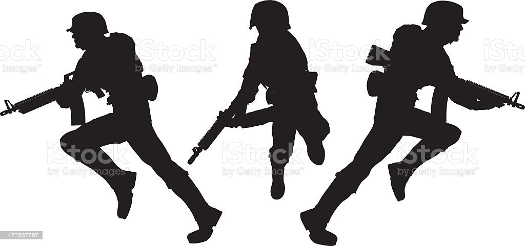 Silhouette soldier[Charge!] royalty-free stock vector art
