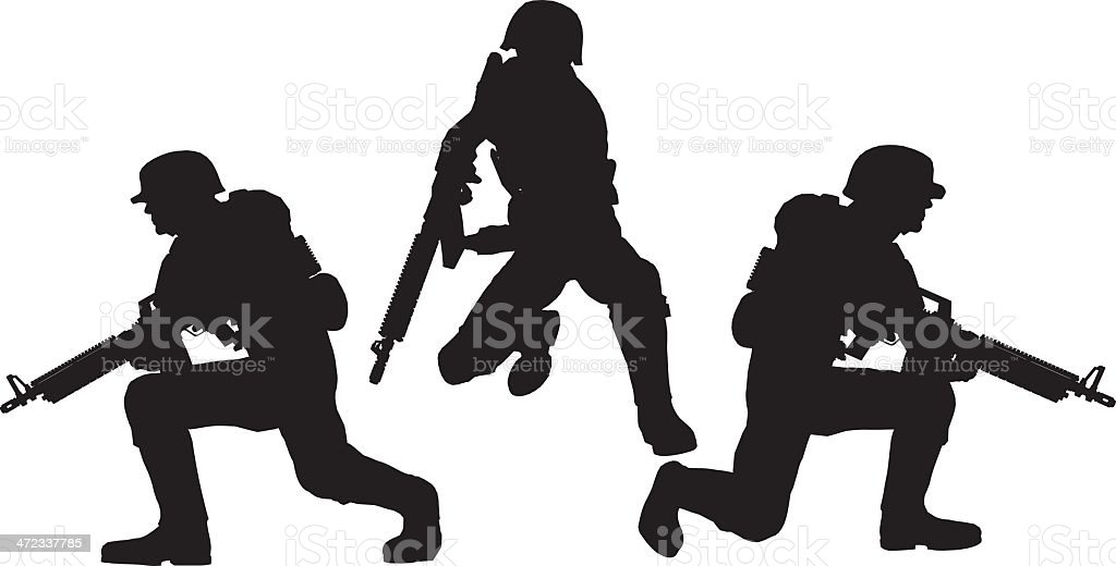 Silhouette soldier[Get ready!] royalty-free stock vector art