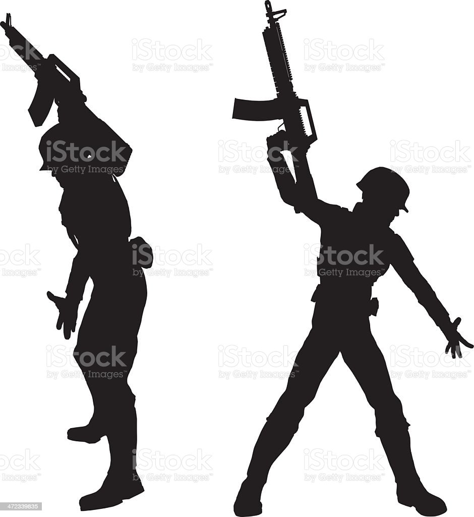 Silhouette soldier[Helping] royalty-free stock vector art