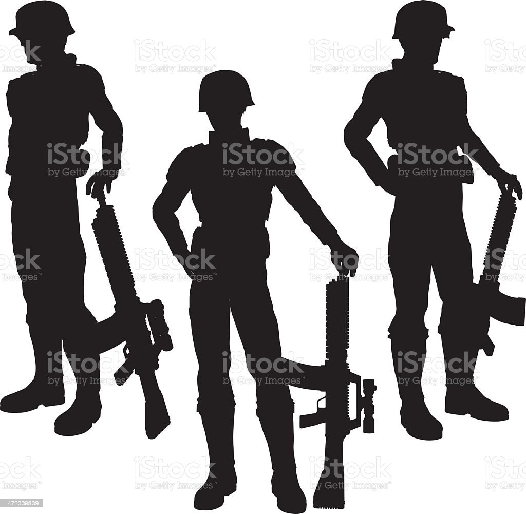 Silhouette soldier[Standing] royalty-free stock vector art