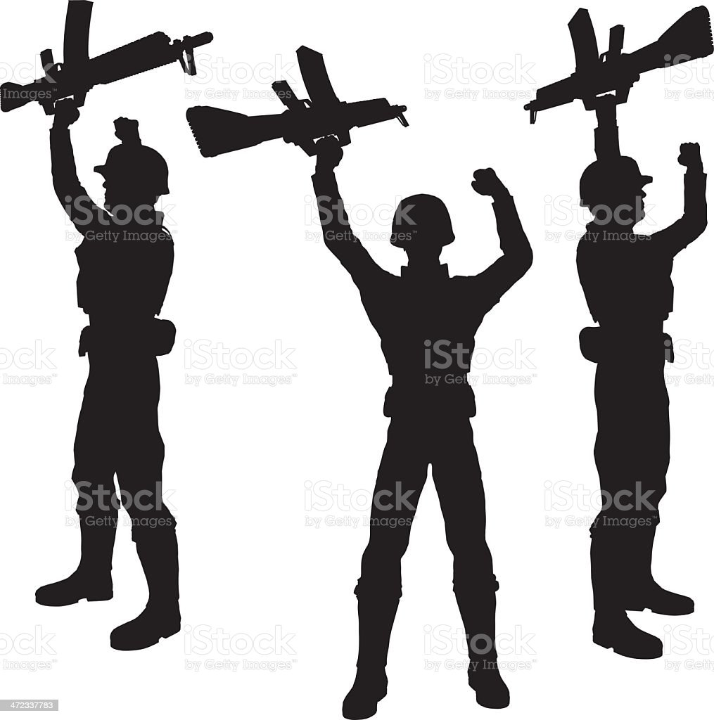 Silhouette soldier[Victory!] royalty-free stock vector art