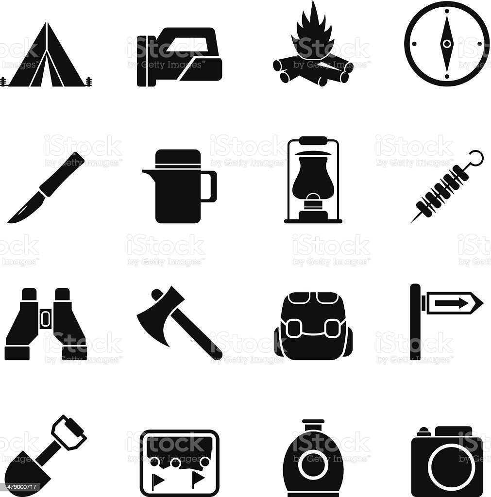 Silhouette tourism and hiking icons vector art illustration