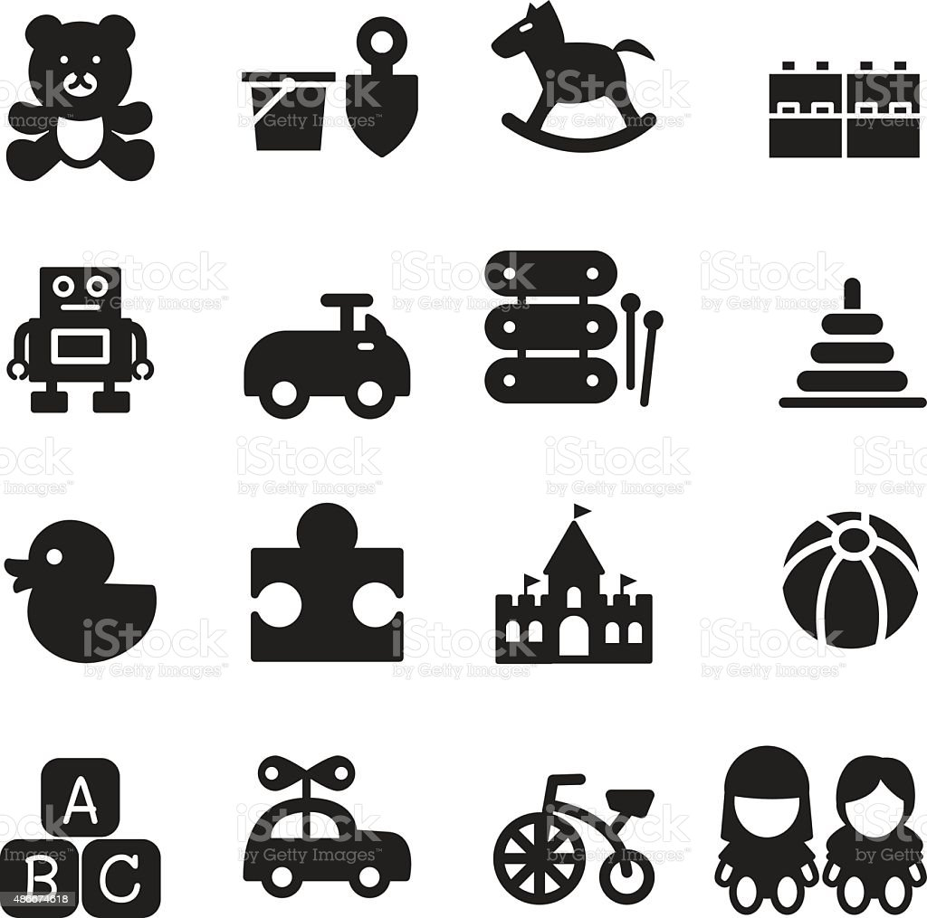 silhouette Toy icons set vector art illustration