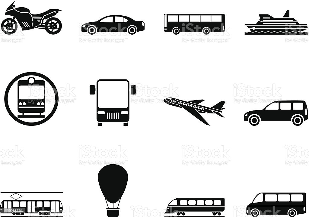 Traveling People Silhouettes Vector Art Graphics: Silhouette Travel And Transportation Of People Icons Stock